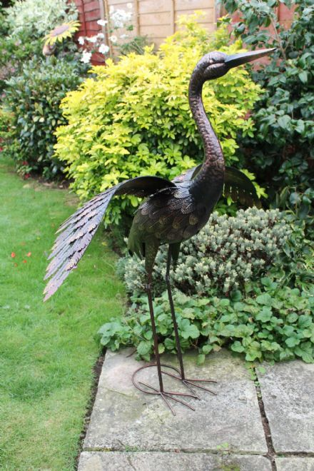 Large Bronze Crane Wings Down  Garden Metal Statue Lawn Ornament